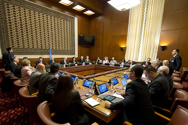 Staffan de Mistura, United Nations Special Envoy for Syria, meets with representatives of the Assad government on February 2, 2016 in Geneva.