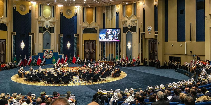The 38th Gulf Cooperation Council (GCC) Ministerial and Heads of State Summit at Bayan Palace in Kuwait City, Kuwait, on December 5, 2017.