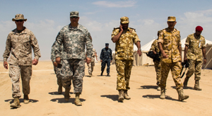American and Qatari officers during Eagle Resolve 2013. Eagle Resolve is an annual multilateral exercise designed to enhance regional cooperative defense efforts of the Gulf Cooperation Council nations and U.S. Central Command.
