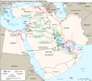 Selected Oil and Gas Pipeline Infrastructure in the Middle East.