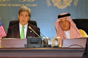 U.S. Secretary of State John Kerry and Saudi Foreign Minister Saud al-Faisal hold a joint news conference after a meeting in Jeddah, Saudi Arabia, on June 25, 2013. Photo: U.S. State Department.
