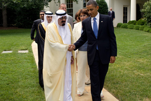 President Barack Obama walks with King Abdullah of Saudi Arabia, and members of the Saudi delegation, prior to the King's departure from the White House, June 29, 2010. Photo: White House.