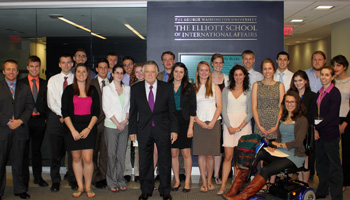 National Council on U.S.-Arab Relations Washington, DC Summer Internship Program participants with Council Founding President & CEO Dr. John Duke Anthony.