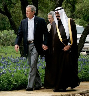 President George W. Bush and Saudi Arabia's Crown Prince Abdullah meeting at Bush's ranch in Crawford, Texas, April 25, 2005.