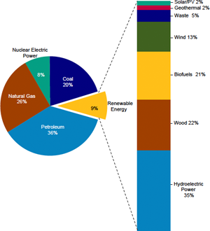 Renewable Energy as Share of Total Primary Energy Consumption, 2011. Source: U.S. Energy Information Association.