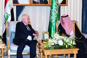 Saudi Arabian Deputy Crown Prince Muqrin bin Abdulaziz Al-Saud hosts Iraqi President Fuad Masum.