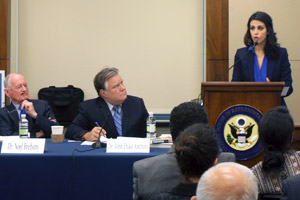 Ms. Sama'a Al-Hamdani speaks at a June 29, 2015 NCUSAR briefing on Capitol Hill in Washington, DC.