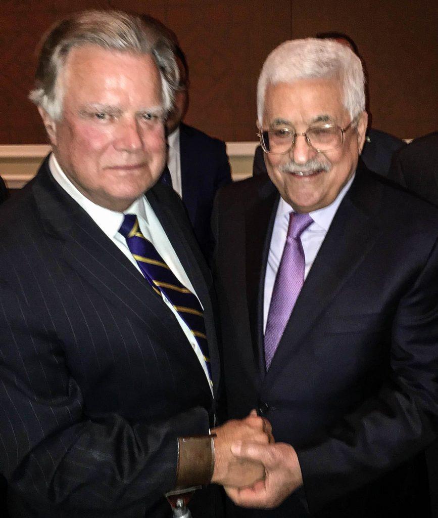Dr. John Duke Anthony with Mahmoud Abbas.