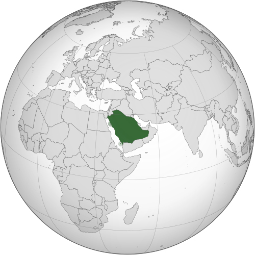 Map depicting location of Saudi Arabia