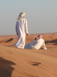 Omani desert guides from the Al-Wahibah and Al-Harthy tribes.