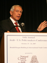 General Wesley K. Clark (USA, Ret.) discusses Arab-U.S. strategic relations during the 16th Annual Arab-U.S. Policymakers Conference at the Ronald Reagan Building and International Trade Center in Washington, D.C., October 25-26, 2007