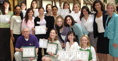 Students from Converse College (South Carolina) pose with their Model Arab League awards