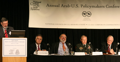 (L to R) Dr. J.E. Peterson, Dr. John Duke Anthony, Major General William Nash (USA, Ret.), U.S. Army Lieutenant General Martin E. Dempsey, and Dr. Anthony H. Cordesman discuss Arab-U.S. defense cooperation at the Council's Annual Policymakers Conference