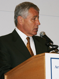 Chuck Hagel, a member of the U.S. Senate Committee on Foreign Relations, delivers the keynote address to the 16th Annual Arab-U.S. Policymakers Conference at the Ronald Reagan Building and International Trade Center in Washington, D.C.