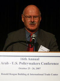 Dr. Michael C. Hudson, Saif Ghobash Professor of Arab Studies and Director of the Center for Contemporary Arab Studies at Georgetown University, chairs a session on the geopolitical dynamics of Syria and Lebanon at the 2007 Arab-U.S. Policymakers Conference