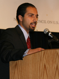 Dr. Trita Parsi, President of the National American Iranian Affairs Council, discusses the geopolitical dynamics of Iran and Iraq at the 2007 Arab-U.S. Policymakers Conference