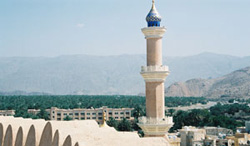 A panoramic view from atop the centuries-old fort adjacent to the Grand Mosque in Nizwa, historical capital of the former Imamate of Oman located deep in the Sultanate's interior.