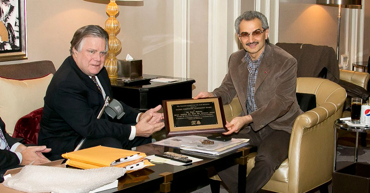 HRH Prince Alwaleed Bin Talal with Dr. John Duke Anthony