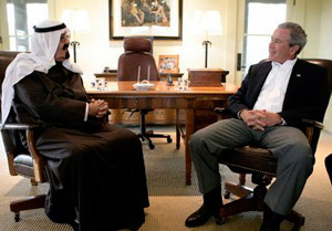 Crown Prince Abdullah meets with President George W. Bush in Crawford, TX, in April 2005. Photo: White House.