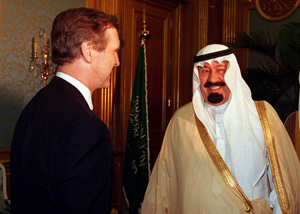 U.S. Secretary of Defense William S. Cohen (left) meets with First Deputy Prime Minister His Royal Highness Crown Prince Abdullah in Jeddah, Saudi Arabia, on June 15, 1997. Photo: U.S. Department of Defense.