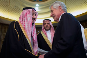 U.S. Secretary of Defense Chuck Hagel, right, greets Saudi Arabian Minister of Defense Crown Prince Salman bin Abdulaziz Al Saud in Riyadh, Saudi Arabia, on Dec. 9, 2013. Photo: U.S. Department of Defense.