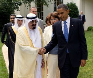 President Barack Obama walks with King Abdullah of Saudi Arabia and members of the Saudi Arabian delegation during the King's visit to the White House on June 29, 2010. Photo: White House.