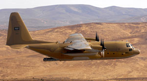 A Royal Saudi Air Force C-130 Hercules aircraft during a multinational training exercise over McChord Air Force Base in Washington in 2007. Photo: U.S. Department of Defense.